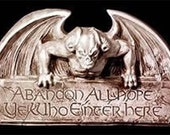 Gothic Abandon All Hope Gargoyle Sign Halloween Prop Black Creepy Creature Medieval Dante Hell Gates Wall Hanging Home Garden Plaque Decor