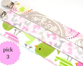 Sale- Pacifier Clip, Fabric Pacifier Clip, Pacifier Clip, Choose Any 3 Pacifier Clip Set- Pacifier Clip Bundle Set- light pink and gray