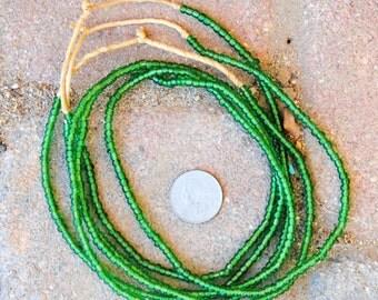 Transparent Green Ghana Glass Beads -3 Strands