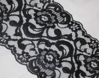 """4 yards black RIGID Non Stretch sheer scalloped lace 5"""" wide G"""