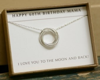 60th birthday gift, 6 linked circle necklace, gift for mother, 6 year anniversary gift for grandmother necklace - Lilia