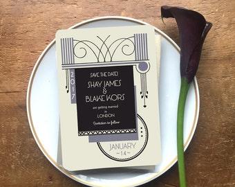 """Art Deco Save the Date Invitation, Art Deco Wedding, 1920s Save the Date, Custom Save the Date """"Syracuse"""""""
