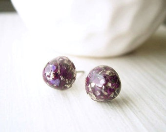 Purple Post Earrings - Nickel Free Titanium Jewelry, Petite, Studs, Gold Glitter, Small,