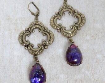 Boho Earrings Fire Opal Earrings Bohemian Earrings Boho Jewelry Dragons Breath Opal Boho Chic Romantic Earrings Quatrefoil Jewelry