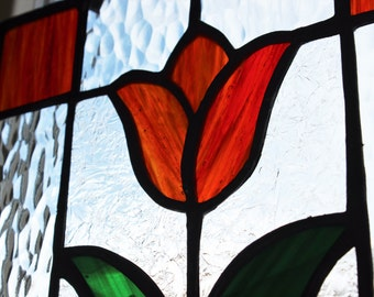 TULIP SUNCATCHER-Stained Glass Window Panel, Under 40, Flower Stained Glass, Red Tulip Suncatcher, Window Decoration, Orange Glass Decor