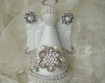 Beautiful Adorned Christmas Angel - Rhinestones, Pearls, Lace and Glitter Hand Placed