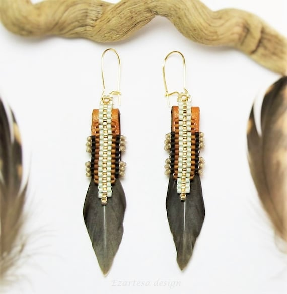 Native american inspired earrings reversible earrings with for Native american feather jewelry