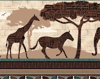 African Animal Stripe - Wisdom of the Plains from Quilting Treasures - Full or Half Yard Animal Stripe - Elephant, Giraffe, Zebra, Elephant