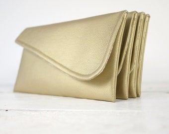 Set of simple gold clutches | gold bridesmaids purses | gold bridesmaids wedding clutches