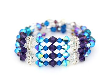 Peacock Wedding Jewelry, Multistrand Bracelet, Cuff Bracelet, Bridal Crystal Bracelet, Purple and Turquoise Bracelet, Statement Bracelet