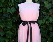 ON SALE Vintage / Cotton Candy / Pink / Double Chiffon and Lace /  Dolly / Nightie