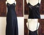 ON SALE Vintage / Victoria Secret / Black / Boudoir / Nightgown / Medium