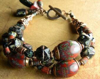 Red Black Chunky Bracelet Boho Copper Czech Glass Rustic Beaded Jewelry