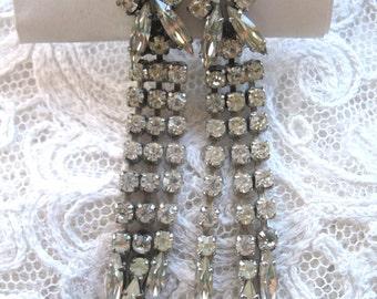 Vintage Rhinestone Dangle Earrings ~ Clip On ~ Continental