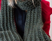 Moss Green Long Unisex Hand Knitted Scarf, Ready to ship