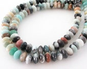 """Amazonite Rondelle Beads - Mix Color Rondelle Gemstone - Smooth Natural Stone Beads - 8mmx4mm - 16"""" Strand Jewelry Making"""