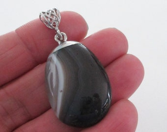 Black Lace Agate Pendant - Natural Flat Back Pendant - Black Layering Gemstone Teardrop with Silver Bail - Top Dipped Silver - Diy Jewelry