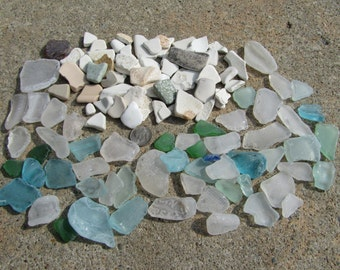 100 Smaller Pieces of Surf Tumbled Glass And Pottery For Crafts