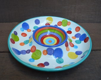 Colorful Stripes and Polka Dots Large Ceramic Chip and Dip Serving Plate - Rainbow Colors