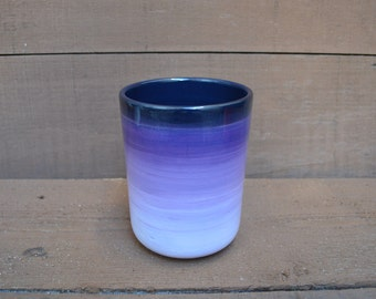 Shades of Purple Ombre Ceramic Utensil Holder / Crock - Medium - Gradient Design - Shades of Purples