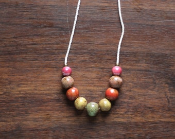 Porcelain and Hemp Single Strand Beaded Earth Tone Necklace