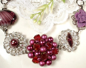 Burgundy Purple Bridesmaid Bracelet, Eggplant Pearl, Rhinestone & Crystal Silver Vintage Cluster Earring Bracelet, Wedding Jewelry Gift Wine