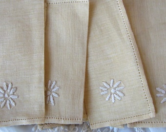 Nine Linen Embroidered Table Napkins