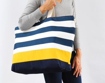 EXTRA Large Beach Bag // Tote in Navy Horizontal Stripes with Yellow Stripe, Monogram Available