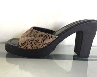 90s Platform  Snakeskin Sandals 7 Deadstock