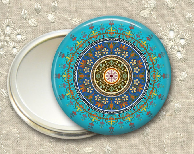 mandala pocket mirror,  original art hand mirror, mirror for purse, fashion accessory,  bridesmaid gift, stocking stuffer  MIR-MAND-6