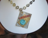 Steampunk style necklace in copper, silver, brass and turquoise