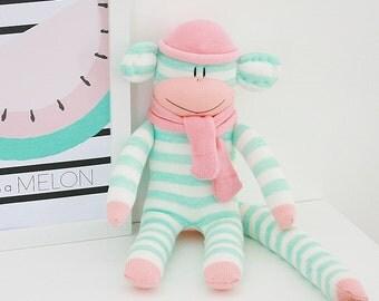 Aqua and Pink Sock Monkey