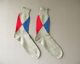 Men's Vintage Argyle Cotton Socks, blue yellow red,  Size 11 1/2