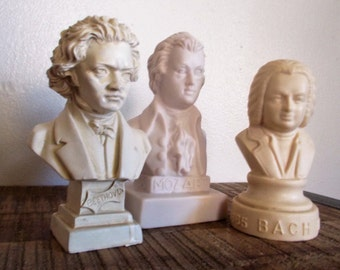 Set of Three Vintage Statuette Busts- Classical Music Heavy Hitters - Mozart, Beethovin and Bach