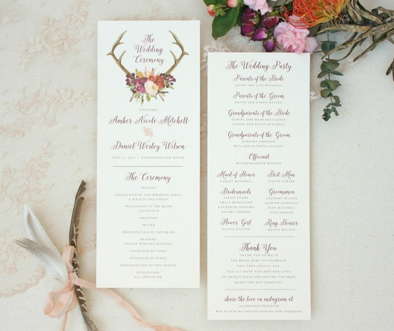 boho antler wedding program with wine floral design rustic wedding