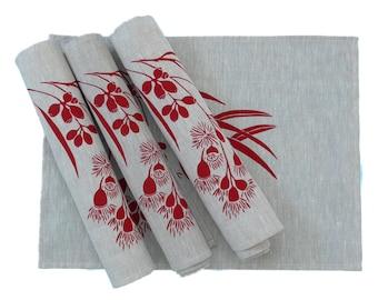 Linen Placemats Screen Printed Linen Place Mats Hand Printed Linen Table Mats Red&Natural Australian Eucalypt (set of 4)