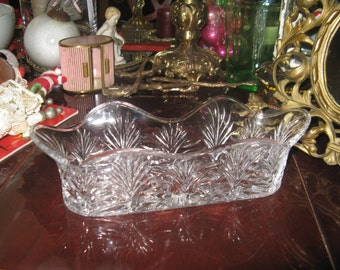 Beautiful Vintage Crystal Spooner Utensil Holder Buffet or Dining Collectable