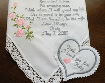 One Embroidered Wedding Handkerchief and One Tie Label Wedding Day Gift Mother of the Bride & Father of the Bride Gifts By Canyon Embroidery