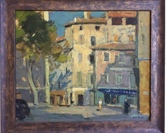 Paul Surtel Original Framed Oil on Panel Painting of Provence France, 1952