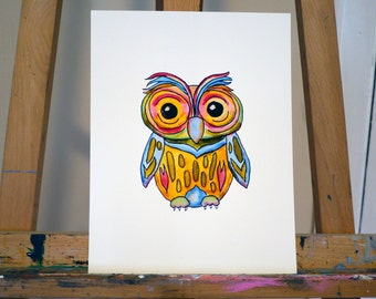 Watercolor Colorful Owl Print - 8.5 x 11