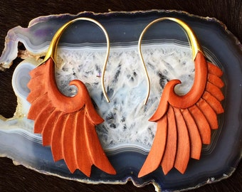 Tribal Style, Sterling Silver and Wood, Brass Accent, Elegant Earrings - Nava Wings Tan