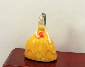 Miniature Woman Tiny Figurine Yellow Dress Dollhouse Decor made Japan