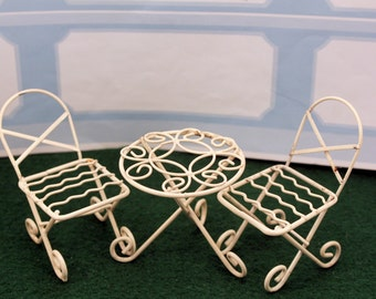 Miniature Bistro Table & Chairs Dollhouse Fairy Garden Furniture White Wire