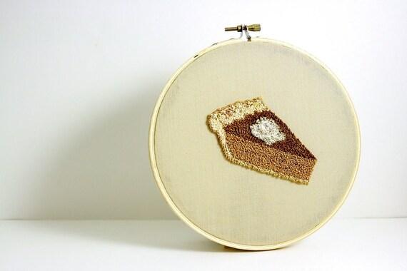 Pumpkin Pie Punch Needle Embroidery Hoop Art. Autumn Home Decor. Brown, Caramel, Tan, White. Neutral Colors. Thanksgiving Hostess Gift.