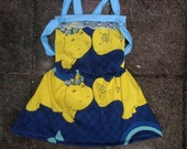 Happy Hippos In Love Knotted Jumper Dress Handmade Vintage Fabric 4T 5T