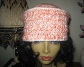 crochet toque white coral orange hippie kufi