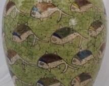 PARSIAN QAJAR Fish Green Antique BIG vase isLamic glazed art pottert ceramic