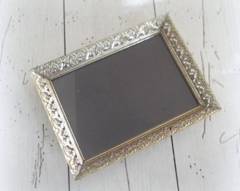 Vintage Brass Photo Frame 5 x 7 Gold Filigree Frame Wedding Table Number Display
