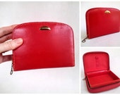 Vintage Little Red Leather Case, Jewelry Box, Vanity Case, Make-Up Bag, Cosmetic Case