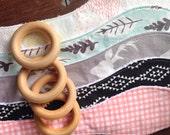 Woodland Deer Teething Toy, Wood Teether, Leaves, Gender Neutral, Pale Blue Mint, Fog Grey, Pastel Geo Mountains, Bunny Ear Teethers